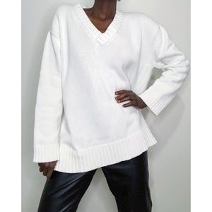 VINTAGE |  White Cotton Oversized V-Neck Sweater